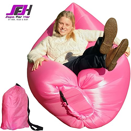 Mini-Size Inflatable Lounger - Pink. Foldable and Portable Hammock / Air Sofa For Indoor or Outdoor Use. Floating Mattress For Pools and Beach Play. No Pump Needed. Good For Camping, Picnics, Hiking