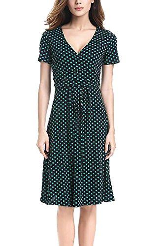 Sleeve Short Neck Summer V Womens Jaycargogo Surplice Dress Midi 3 SFqX6vwW
