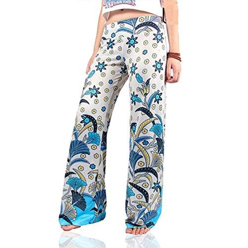 Loisir Large Couleur Femme 15 Printemps Élégante Vintage Taille Party Style Fille Impression Frappant Automne Mode Mi Pantalon qOZwpq
