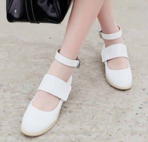 Aisun Womens Élégant Bout Rond Robe Boucle Wrap Chunky Talons Bas Pompes Chaussures Avec Des Sangles De Cheville Blanc