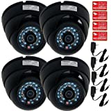 VideoSecu 4 Pack Dome Security Cameras CCD 480TVL 3.6mm Outdoor CCTV Wide Angle Infrared Day Night Vandal Proof 20 IR LEDs Home Surveillance with Free Power Supplies and Security Warning Decals MD7