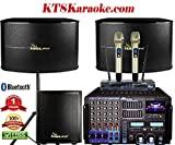 PACKAGE IDOLpro 8000W Professional Karaoke Mixing Amplifier W/Bluetooth, HDMI, Recording, Equalizer Plus 12' 3 Way Karaoke Speakers, Dual Wireless Microphones, 500W Subwoofer