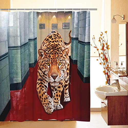 - Leopard Shower Curtain Hallway Shower Curtain Animal Shower Curtain Modern Style Shower Curtain Durable Waterproof Fabric Bath Curtain with 12 Hooks