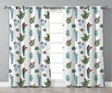Thermal Insulated Blackout Grommet Window Curtains,Cactus Decor,Watercolor Cactus Plant Image Desert Hot Mexican Souh Nature Floral Print,Blue and Green,2 Panel Set Window Drapes,for Living Room Bedro