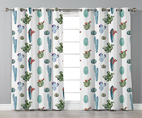 Thermal Insulated Blackout Grommet Window Curtains,Cactus Decor,Watercolor Cactus Plant Image Desert Hot Mexican Souh Nature Floral Print,Blue and Green,2 Panel Set Window Drapes,for Living Room Bedro by iPrint