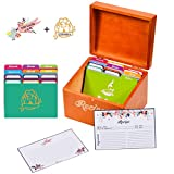 Akshaya Maplewood Recipe Box Gift Set with 100 recipe cards 4x6 and 12 dividers | Perfect gift for Women's Bridal Shower and Weddings