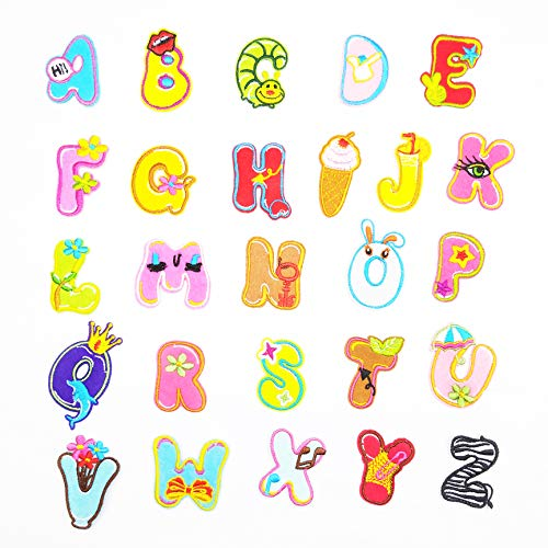 Letter Patches 26PCS Alphabet Letter Patches DIY Embroidered Iron On Patch Appliques Decorative Repair Patches Cute Animal Patches for Hats, Jackets, Shirts, Jeans, Clothing