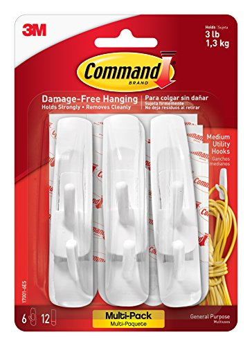 Command Utility Hooks Value Pack, Medium, White, 6-Hook, 2-Pack by Command