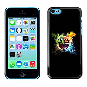 PC/Aluminum Funda Carcasa protectora para Apple Iphone 5C Awesome Smiley Blast / JUSTGO PHONE PROTECTOR