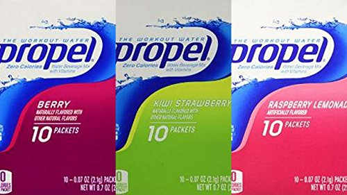 Propel Zero Powder Packets Variety Bundle - 60 Packets - 6 Boxes Total (2 Boxes Each of Raspberry Lemonade, Kiwi Strawberry, and Berry) - Drink Propel Mix Packets