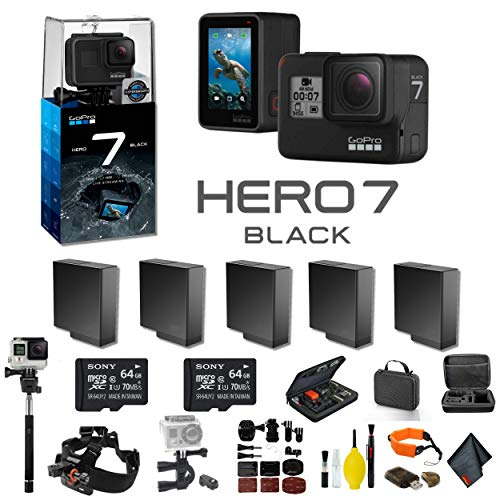 GoPro HERO7 Black Action Camera 4 Extra Battery, External Charger, 2 64GB Memory Card, Case, Chest Mount, Handle Bar Mount, Selfie Stick, Floating Strap More.- 5 Battery Bundle