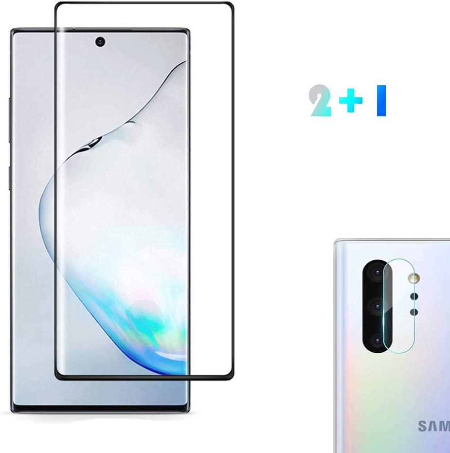 [2 Pack] Galaxy Note 10 Plus/Note 10+ 5G Screen Protector Tempered Glass Include a Camera Lens Protector, Screen Protector with 3D Curved HD Clear Full Coverage for Samsung Galaxy Note10+/Note10 Plus