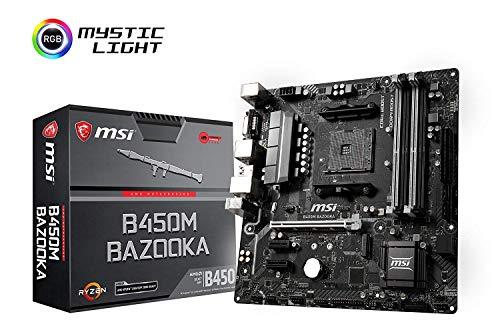 MSI Arsenal Gaming AMD Ryzen 1st and 2nd Gen AM4 M.2 USB 3 DDR4 DVI HDMI Micro-ATX Motherboard (B450M Bazooka) (Certified Refurbished) ()