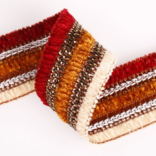 Heavy Embellished Trim - Soft and Luxury Feel Chenille Yarn Ribbon Trim Border, Stripes with Old Gold Lurex. Embellished Look for Cocktail Evening Wear Outfit & Indian Sari, Salwar Kameez or Dress Making Crafts; Great Price for a stunning Ribbon