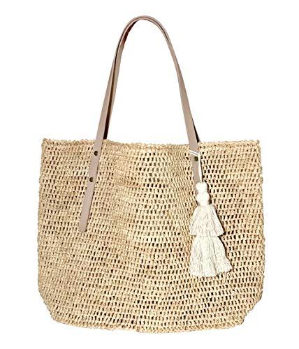 Natural Raffia Straw Tote Leather Handles Shoulder Bag Womens (Natural/Natural)
