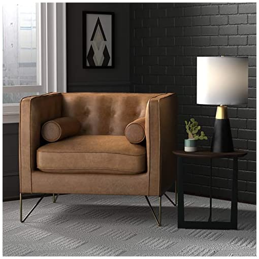 Farmhouse Accent Chairs Amazon Brand – Rivet Brooke Contemporary Mid-Century Modern Tufted Leather Living Room Chair, 35″W, Cognac farmhouse accent chairs