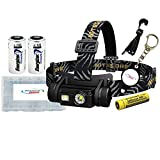 Nitecore HC65 (1000 Lumens) USB Rechargeable Headlamp - White/Red/High CRI Outputs Bundled With 2 Energizer CR123 Batteries, 1 Alliance Gadget Battery Box and 1 Alliance Gadget Keychainlight