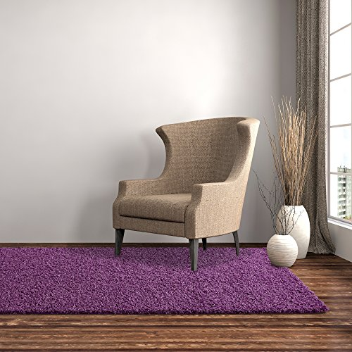 iCustomRug Dixie Cozy Soft And Plush Pile, 4ft0in x 6ft0in (4X6) Shag Area Rug In (Plum 4x6 Area)