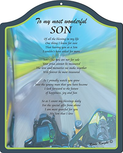 ost Wonderful Son Racing Motorcycle Design Touching 8x10 Poem Plaque with Arch Top (Motorcycle Plaque)