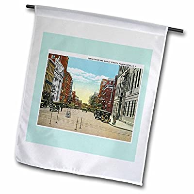 BLN Vintage US Cities and States Postcards - Corner Main and Market Streets, Poughkeepsie, New York Street Scene - Flags