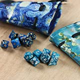 QIELIZI 2 Pack DND Dice Bag Pouch,PU Leather Dragon Dice Pouch Wih 7 Die Set Perfect for D&D Dices, Coins and Accessories