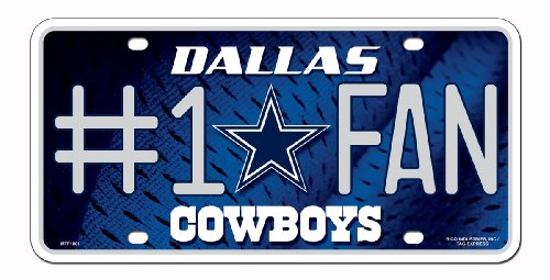 NFL Dallas Cowboys #1 Fan Metal Auto Tag (Accessories Mens Dallas Cowboys)