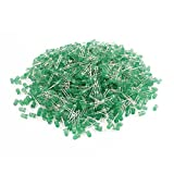 Aexit 1000pcs 2 Terminal Green Light Emitting Diode 5mm Round Green Bulb for LED Light