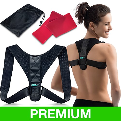 Body Wellness Posture Corrector for Women & Men – Thoracic Back Brace for Perfect Posture – Adjustable and Comfortable Clavicle Brace – Posture Fixer - Resistance Band & Bag INCLUDED by moldAP ()
