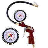 Shiningeyes Tire Inflator Gauge with Flexible Rubber Hose, 3-in-1 Inflation Gun, Pressure Gauge, Range from 0-220 PSI (1/4' Connect US standard)