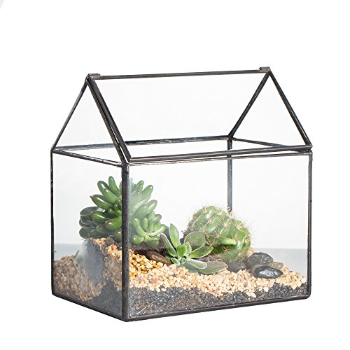 (NCYP Geometric Glass Terrariumn Box Handmade House Shape Close Glass Tabletop DIY Display Planter Windowsill Flowerpot with Swing for Succulent Air Plants Moss Fern Lid Reptile 6.2X 5.9X 4.3inches)