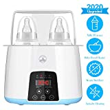Baby Bottle Warmer for Breastmilk Formula Baby Food Bottle Warmer and Sterilizer with Timer LCD Touch Screen - 5 in 1 Fast Bottle Warmer Double-Bottle Designed