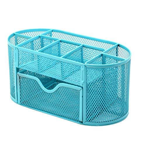 (Mayunn Creative Pencil and Pen Holder Office Desk Supplies Organizer - Desktop Metal 9-Grid Storage Box (Sky Blue))