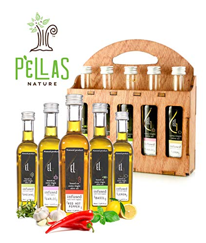 Flavored Organic Olive Oil - Pellas Nature | Fresh Organic Herbs Infused Greek Extra Virgin Olive Oil | 5 infused Flavors in French Glass bottles | Finishing oil | Wooden Gift Set | 5 X 1.7oz Each (Single)