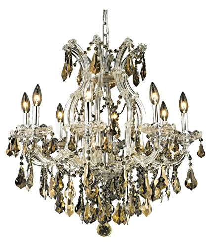 Elegant Lighting 2801D26C-Gt/Ss Swarovski Elements Smoky Golden Teak Crystal Maria Theresa 9-Light, Single-Tier Crystal Chandelier, Finished in Chrome with Smoky Golden Teak Crystals ()