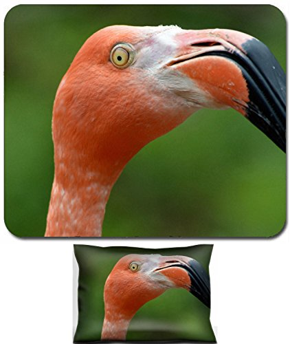 Luxlady Mouse Wrist Rest and Small Mousepad Set, 2pc Wrist Support design IMAGE: 19468943 Sassy Flamingo ()