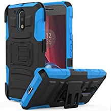 Moto G4 / G4 Plus Case, MoKo Shock Absorbing Hard Cover Ultra Protective Heavy Duty Case with Holster Belt Clip + Built-in Kickstand for Motorola Moto G 4th Generation / G4 Plus 5.5 Inch - Blue