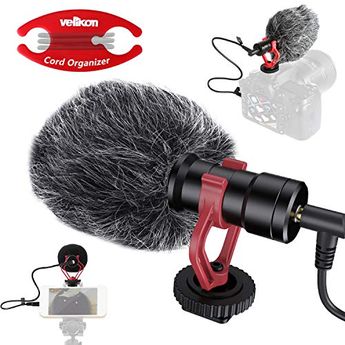 Velikon Condenser Microphone, Compact On-Camera Cardioid Shotgun Mic for DSLR Camera, Camcorders, Video & Audio Recording, iOS Android Smartphone, for Vloggers, Facebook, Livestream, with Shock Mount