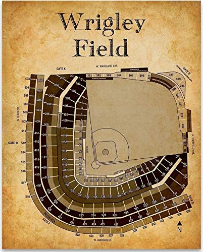 Wrigley Field Baseball Seating Chart - 11x14 Unframed Art Print - Great Sports Bar Decor and Gift Under $15 for Baseball Fans (Baseball Bat Series Youth Wood)