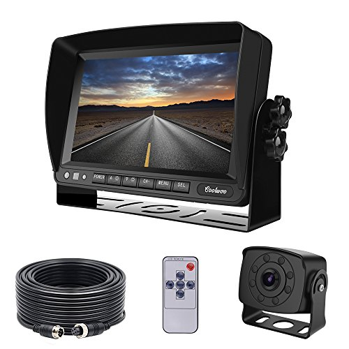 (Backup Camera Monitor Kit Van, RV, Upgraded 175º Wide View Wired Infrared HD Small Rear View Cam 7 inch Adjustable Monitor Truck, Trailer, Bus, Oversize Vehicles)