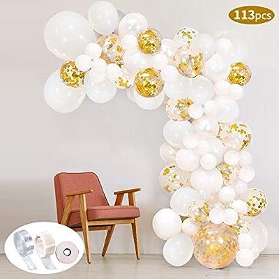 113Pcs Kit de guirnaldas con globos SPECOOL Kit de arcos con globos Confeti blanco y dorado lleno Paquete de globos de látex con cinta de globos para ...