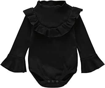 Newborn Infant Baby Girl Romper Ruffle Bell Long Sleeve Cotton Thread Jumpsuit Bodysuit Clothes