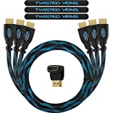 Twisted Veins HDMI Cable 6 ft, 3-Pack, Premium HDMI Cord Type High Speed with Ethernet, Supports HDMI 2.0b 4K 60hz HDR on All Tested Devices Except Apple TV 4K Where it Only Supports 4K 30hz