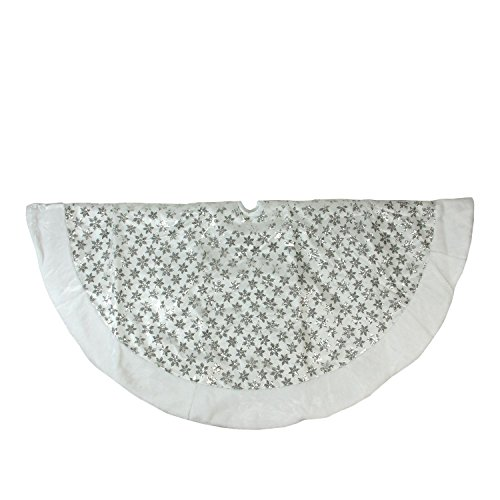 """Northlight 60"""" Silver Sequin Snowflake with White Faux Fu..."""