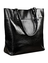 Yaluxe Women's Casual Style Genuine Leather Tote Shoulder Bag Black