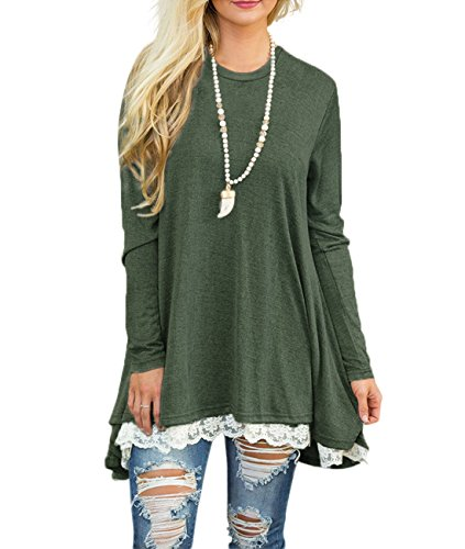 Sanifer Women Lace Long Sleeve Tunic Top Blouse (Medium, Green)