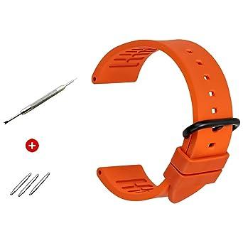 MAIKES Correa Reloj de Piel Replacement Reloj Banda 20 mm 22mm 24 ...