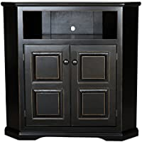 Eagle Tall Savannah Corner TV Console, 41 Wide, Black Finish