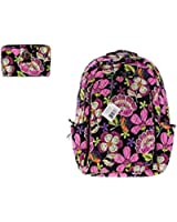 Vera Bradley Pirouette Pink Backpack Bundle: Laptop Backpack and Turnlock Wallet