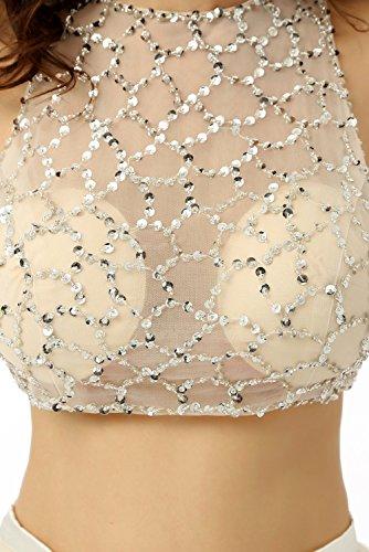 Beauty-Emily Dos-Piezas Tanques O-cuello del vestido de noche Transparente Beige