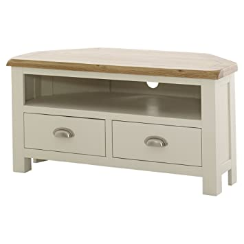 huge discount acd35 37e29 The Furniture Market Cotswold Cream Painted Corner TV Unit with Oak Top